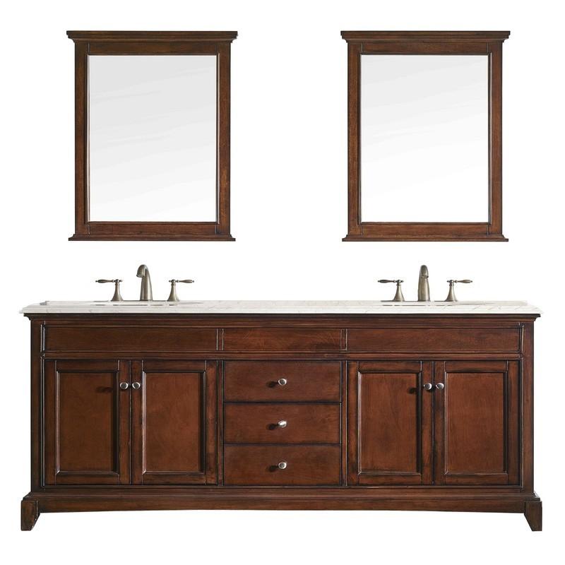 Eviva Evvn709 72tk Elite Stamford 72 Inch Brown Solid Wood Bathroom Vanity Set With Double Og Crema Marfil Marble Top