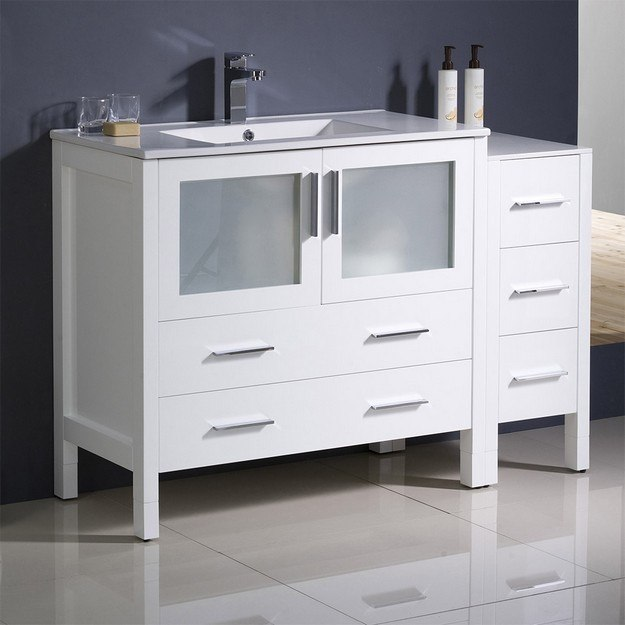 FRESCA FCB62-3612WH-I TORINO 48 INCH WHITE MODERN BATHROOM CABINETS WITH INTEGRATED SINK