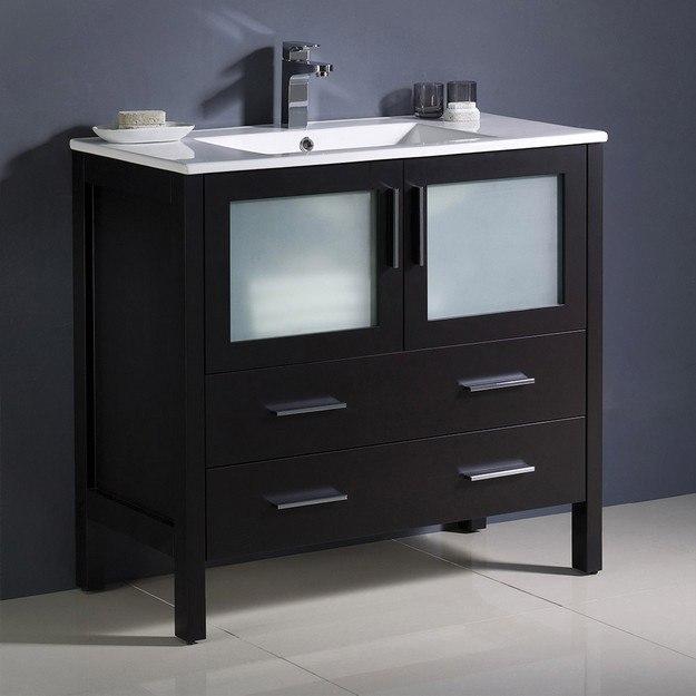 FRESCA FCB6236ES-I TORINO 36 INCH ESPRESSO MODERN BATHROOM CABINET WITH INTEGRATED SINK