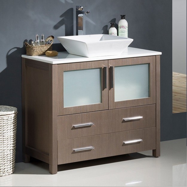 FRESCA FCB6236GO-CWH-V TORINO 36 INCH GRAY OAK MODERN BATHROOM CABINET WITH TOP AND VESSEL SINK