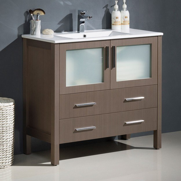 FRESCA FCB6236GO-I TORINO 36 INCH GRAY OAK MODERN BATHROOM CABINET WITH INTEGRATED SINK