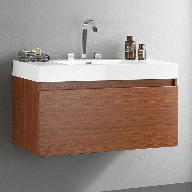 FRESCA FCB8010TK-I MEZZO 39 INCH TEAK MODERN BATHROOM CABINET WITH INTEGRATED SINK