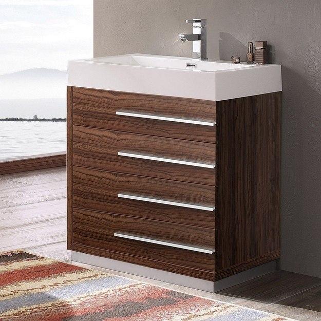 FRESCA FCB8030GW-I LIVELLO 30 INCH WALNUT MODERN BATHROOM CABINET WITH INTEGRATED SINK