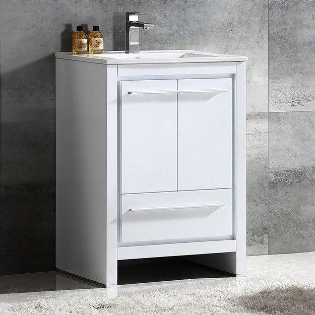 FRESCA FCB8125WH-I ALLIER 24 INCH WHITE MODERN BATHROOM CABINET WITH SINK