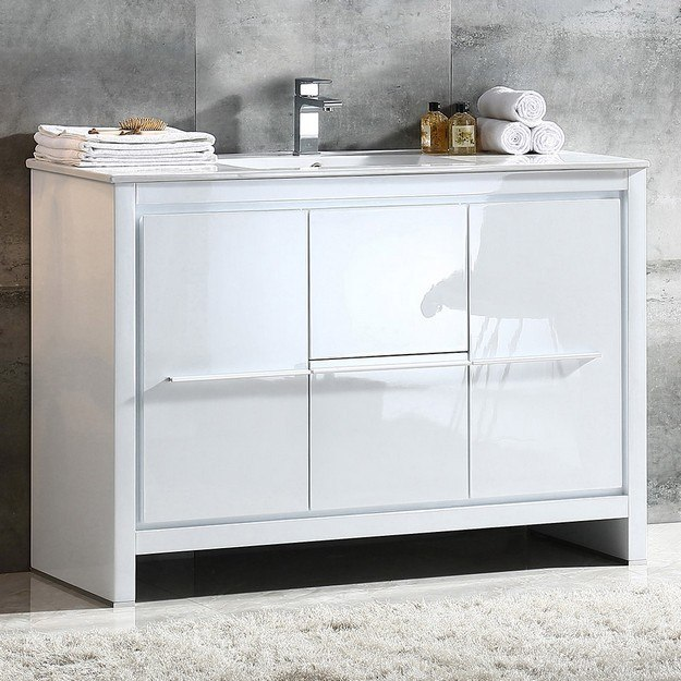FRESCA FCB8148WH-I ALLIER 48 INCH WHITE MODERN BATHROOM CABINET WITH SINK
