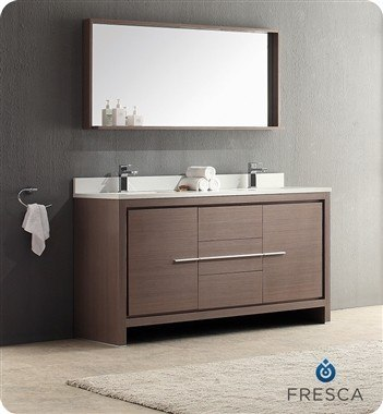FRESCA FVN8119GO ALLIER 60 INCH GRAY OAK MODERN DOUBLE SINK BATHROOM VANITY WITH MIRROR