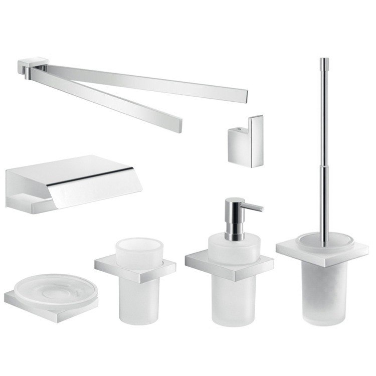 GEDY LZ1211 LANZAROTE COMPLETE WALL MOUNTED CHROME BATHROOM ACCESSORY SET