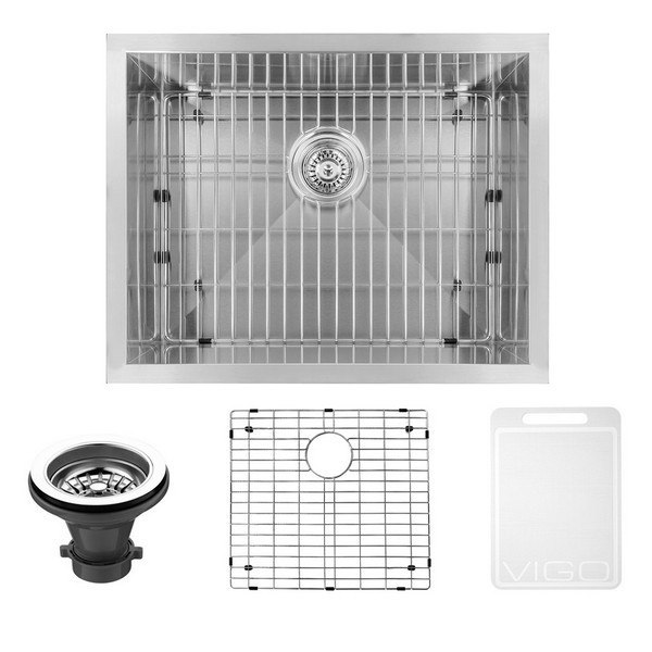 Vigo Vg2318ck1 23 Inch Undermount Stainless Steel 16 Gauge Single Bowl Kitchen Sink Grid And Strainer
