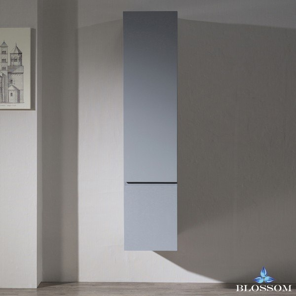 Blossom 000 15 15 WH Monaco 15 Inch Wall Mount Linen Cabinet In Metal Grey