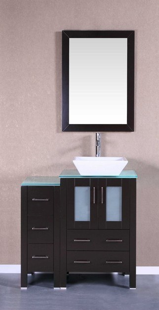 Bosconi AB124SQCWG1S 36 Inch Single Vanity Set in Espresso