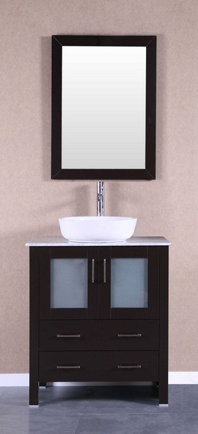 Bosconi AB130BWLCM1S 42 Inch Single Vanity Set in Espresso