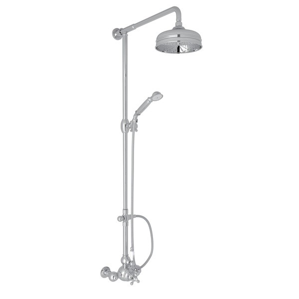 ROHL AC407OP ARCANA EXPOSED WALL MOUNT THERMOSTATIC SHOWER WITH VOLUME CONTROL, ORNATE PORCELAIN HANDLE