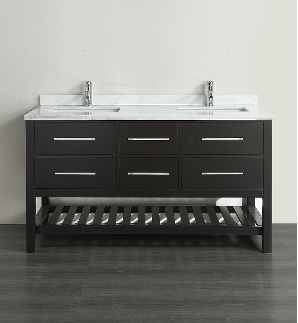 Eviva EVVN512-60ES Natalie F. 60 Inch Espresso Bathroom Vanity with White Carrera Marble Counter-top and Double Porcelain Sinks