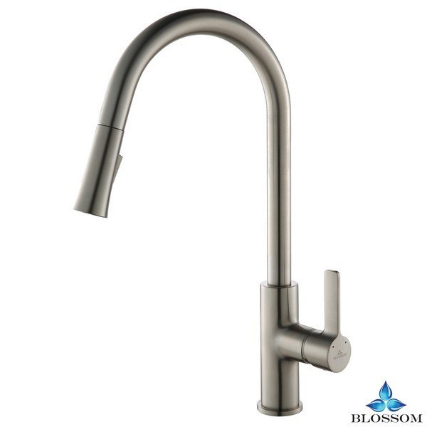 Blossom F01 201 02 Single Handle Pull Down Kitchen Faucet in Brush Nickel