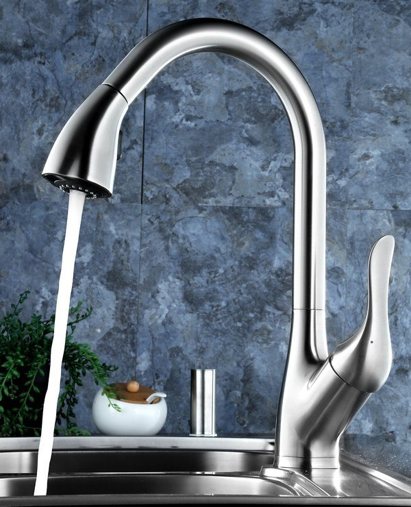 Blossom F01 202 02 Single Handle Pull Down Kitchen Faucet in Brush Nickel
