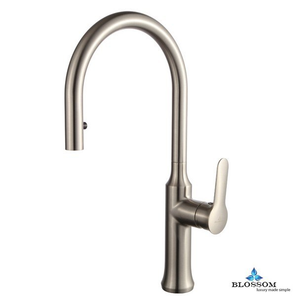 Blossom F01 203 02 Single Handle Pull Down Kitchen Faucet in Brush Nickel