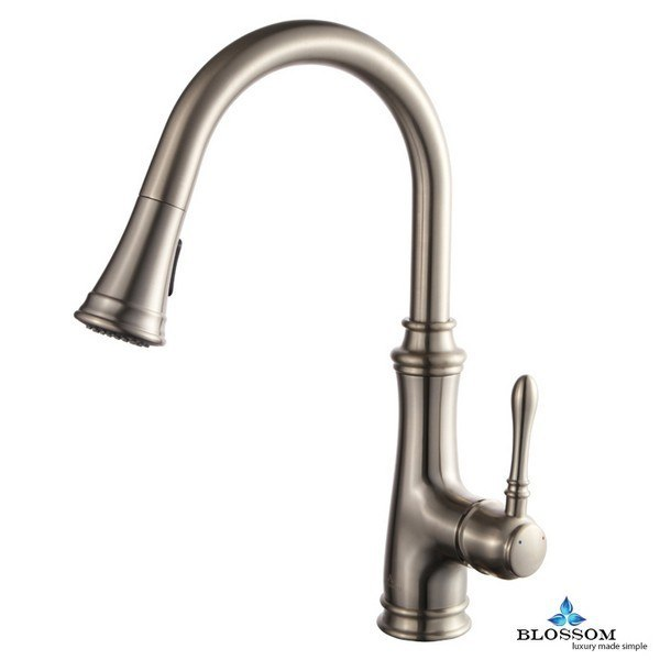 Blossom F01 204 02 Single Handle Pull Down Kitchen Faucet in Brush Nickel