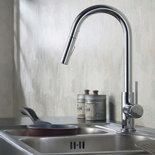 Blossom F01 206 01 Single Handle Pull Down Kitchen Faucet in Chrome