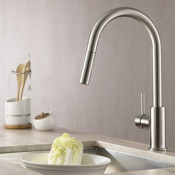 Blossom F01 206 02 Single Handle Pull Down Kitchen Faucet in Brush Nickel