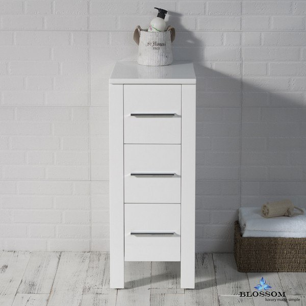 BLOSSOM S8001 12 01 SYDNEY 12 INCH SIDE CABINET IN GLOSSY WHITE