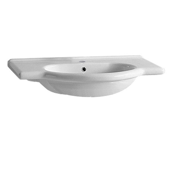WHITEHAUS TOP62 ISABELLA 35-3/4 INCH WALL MOUNT/SEMI RECESSED LARGE VANITY BATH BASIN WITH INTEGRATED OVAL BASIN AND CHROME OVERFLOW