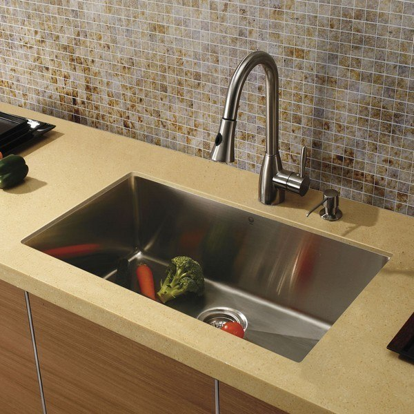 Vigo VG15020 Kitchen Platinum Collection Includes 32 Inch Sink, Faucet,  Dispenser, And Strainer