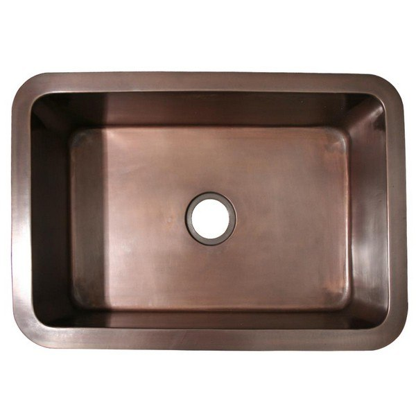 WHITEHAUS WH3020COUM-OBS COPPERHAUS 30 INCH RECTANGULAR UNDERMOUNT SINK WITH A SMOOTH TEXTURE AND 3 ? INCH CENTER DRAIN