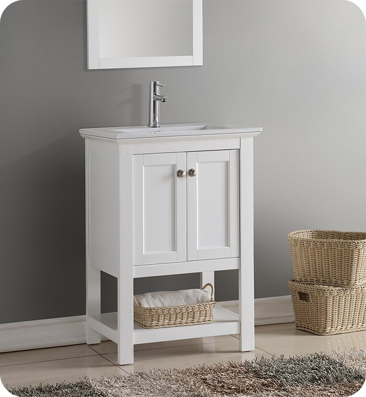 FRESCA FCB2304WH-I MANCHESTER 24 INCH WHITE TRADITIONAL BATHROOM VANITY