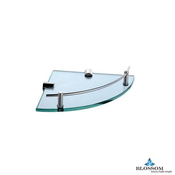 BLOSSOM BA02 510 01 WALL MOUNTED CORNER GLASS SHELF IN CHROME