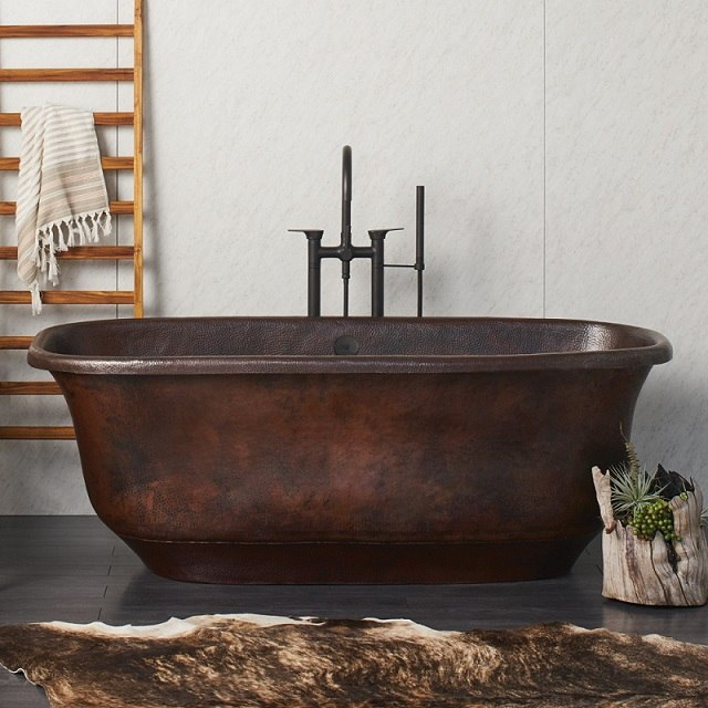 NATIVE TRAILS CPS94 SANTORINI 66 INCH SOAKING BATHTUB FOR FREESTANDING INSTALLATIONS WITH CENTER DRAIN