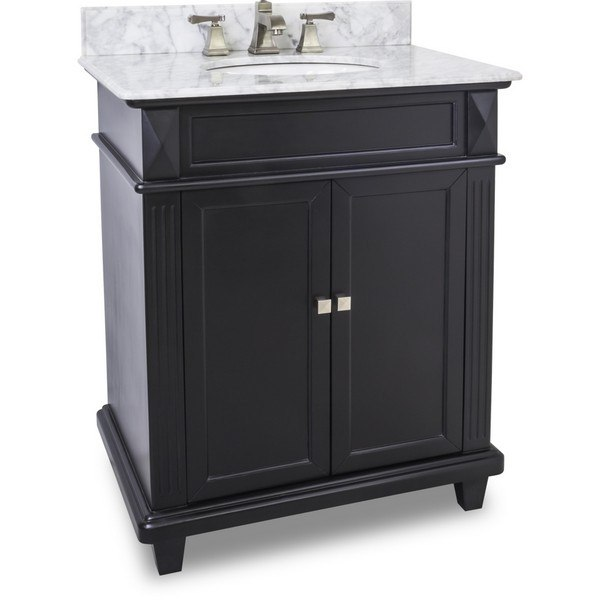 Hardware Resources VAN057-30-T-MW Douglas 30 Inch Black Vanity with Preassembled Top and Bowl