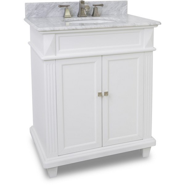 Hardware Resources Van094 30 T Mw Douglas Inch White Vanity With Preembled Top And Bowl