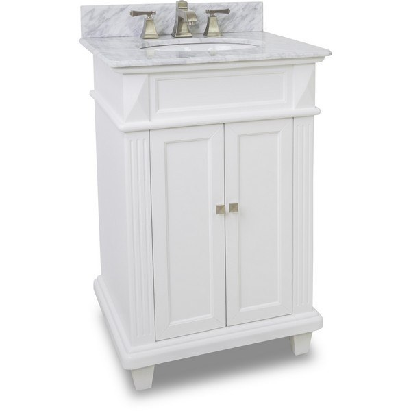 Hardware Resources Van094 T Mw Douglas 24 Inch White Vanity With Preembled Top And Bowl