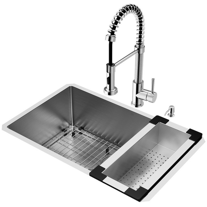 VIGO VG15054 KITCHEN PLATINUM COLLECTION INCLUDES 30 INCH SINK, FAUCET, COLANDER, DISPENSER, AND STRAINER