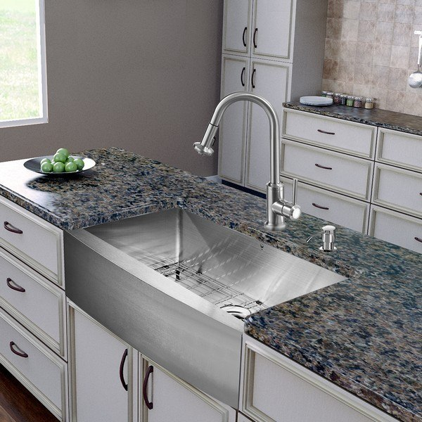 Vigo VG15278 30 Inch Farmhouse Undermount Single Bowl Sink, Faucet, Strainer, Grids, and Strainers