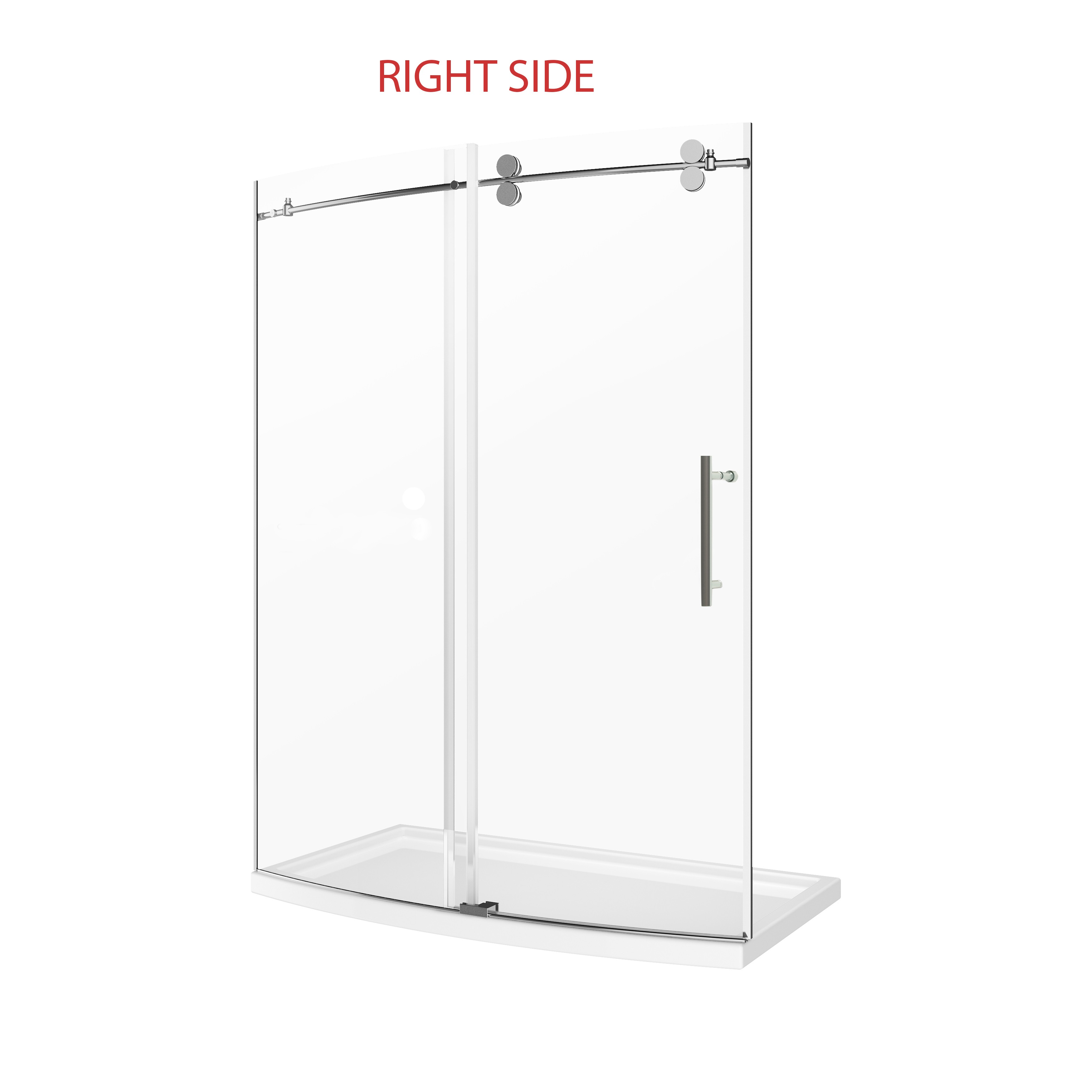 A&E BATH AND SHOWER SK-C-6034-R TINA 60 INCH CURVED SHOWER DOOR WITH BASE-RIGHT OPENING