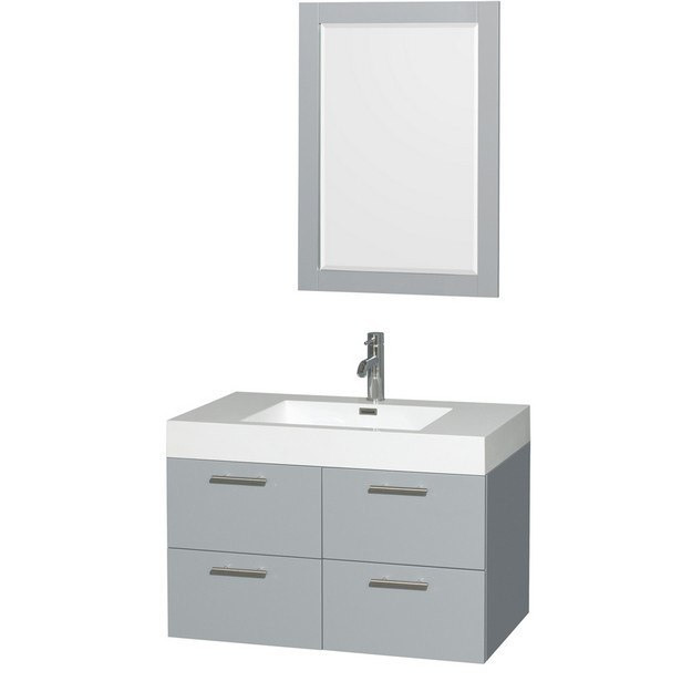 WYNDHAM COLLECTION WCR410036SDGARINTM24 AMARE 36 INCH SINGLE BATHROOM VANITY IN DOVE GRAY, ACRYLIC RESIN COUNTERTOP, INTEGRATED SINK, AND 24 INCH MIRROR