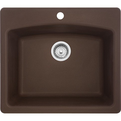 Franke ESDB25229-1 Ellipse 22 Inch Dual Mount Single Bowl Granite Kitchen Sink in Mocha