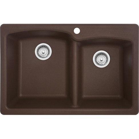 Franke EODB33229-1 Ellipse 33 Inch Dual Mount Double Bowl Granite Kitchen Sink in Mocha