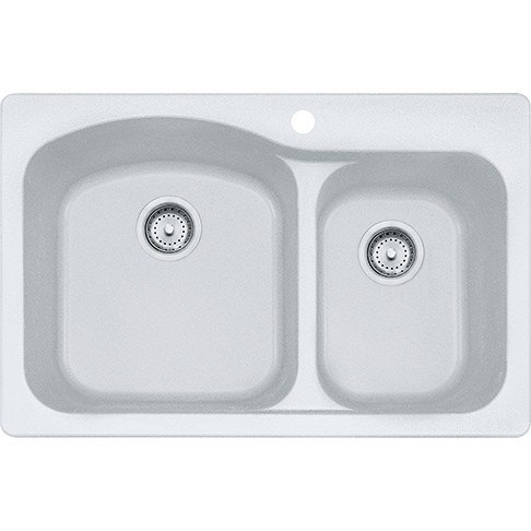 Franke DIG62F91-WHT Gravity 33 Inch Dual Mount Double Bowl Granite Kitchen Sink in White