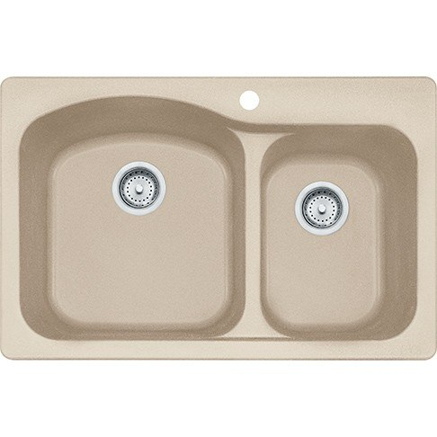 Franke DIG62F91-CHA Gravity 33 Inch Dual Mount Double Bowl Granite Kitchen Sink in Champagne