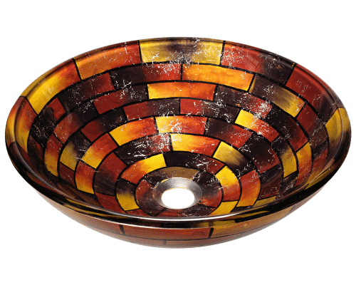 Polaris P126 Stained Glass Vessel Bathroom Sink 16-1/2 Inch Embossed Print