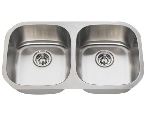 Polaris P205 Double Bowl Stainless Steel Sink 32-1/2 Inch Brushed Satin