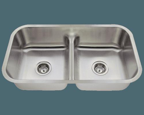 Polaris P215 Half Divide Stainless Steel Kitchen Sink 32-1/2 Inch Brushed Satin