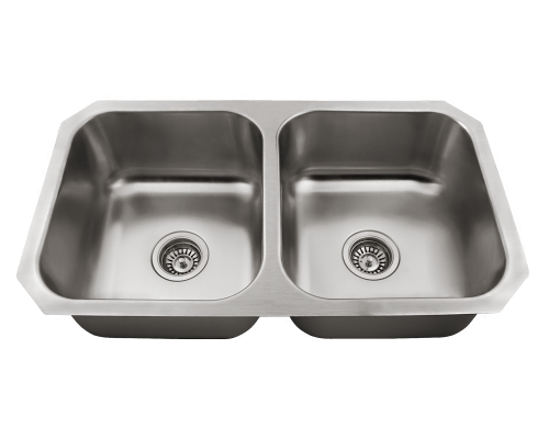 Polaris P2201US Double Bowl Stainless Steel Sink 31-3/4 Inch Brushed Satin