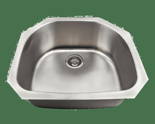 Polaris P2401US D-Bowl Stainless Steel Kitchen Sink 23-3/4 Inch Brushed Satin