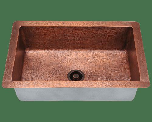Polaris P309 Single Bowl Copper Sink 33 Inch Hammered Copper