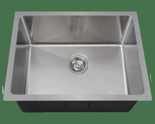 Polaris P3281 Stainless Steel Single Bowl 3/4 Inch Radius Kitchen Sink 23 Inch Brushed Satin