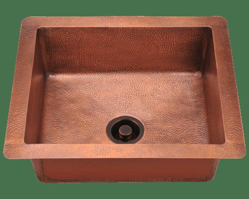 Polaris P409 Single Bowl Copper Sink 25 Inch Hammered Copper