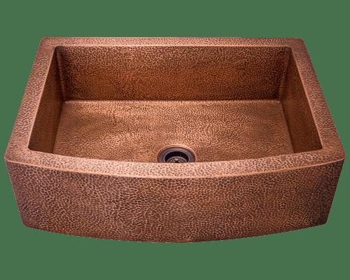 Polaris P419 Single Bowl Copper Apron Sink 33-1/4 Inch Hammered Copper